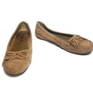 Minnetonka Tan Suede Fringed Loafers
